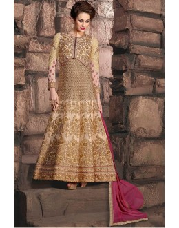 Bridal Wear Cream Georgette Anarkali Suit - 10003