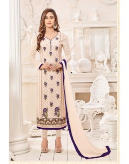 Party Wear Cream Semi Georgette Salwar Suit  - 3922