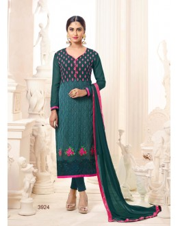 Office Wear Teal Semi Georgette Salwar Suit  - 3924