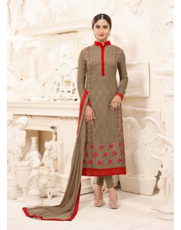Ethnic Wear Brown Semi Georgette Salwar Suit  - 3925
