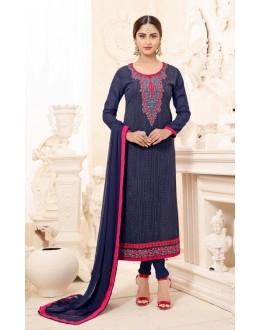 Festival Wear Blue Semi Georgette Salwar Suit  - 3926