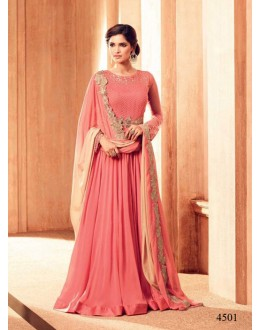 Festival Wear Peach Georgette Anarkali Suit - 4501