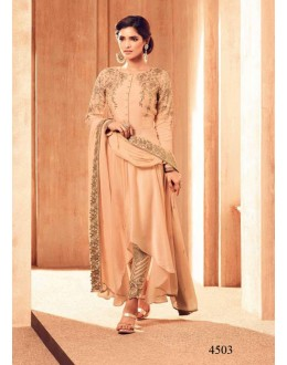 Party Wear Cream Satin Anarkali Suit - 4503