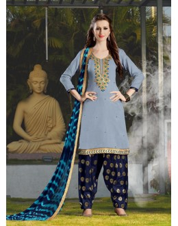 Office Wear Grey Cotton Patiyala Suit - 115