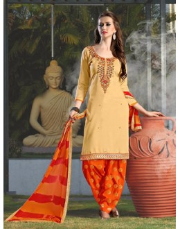 Festival Wear Beige Cotton Patiyala Suit - 118