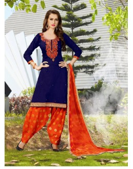 Festival Wear Blue Cotton Patiyala Suit - 120