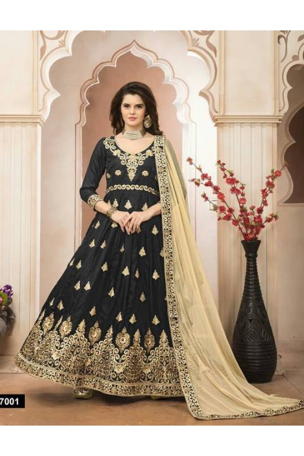 Ethnic Wear Black Banglori Silk Anarkali Suit - 27001
