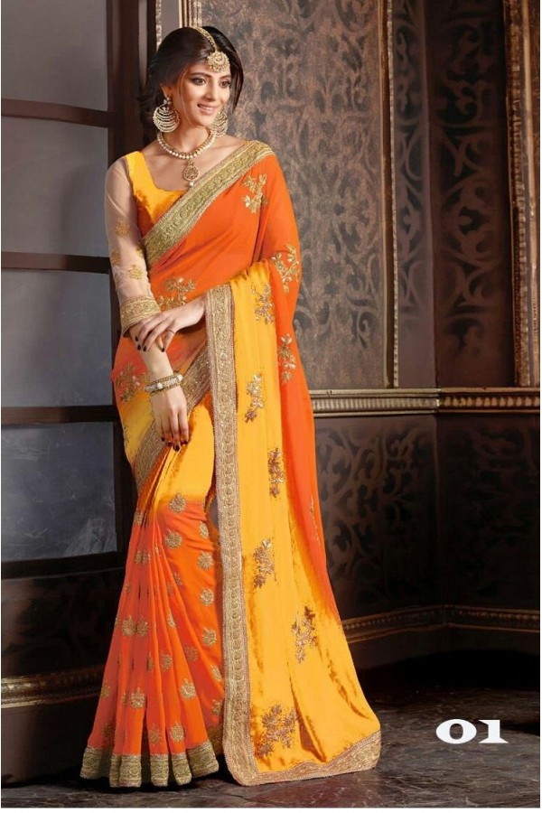 Festival Wear Orange & Yellow Georgette Saree  - 1086-01