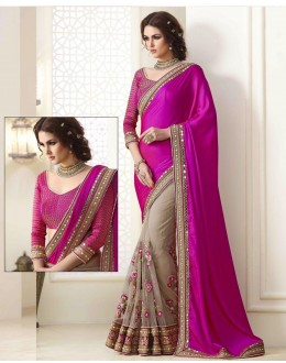 Bollywood Inspired - Pink & Beige Embroidery Saree  - 1555