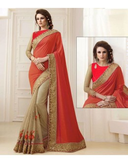 Bollywood Inspired - Ethnic Wear Orange & Beige Saree  - 1556
