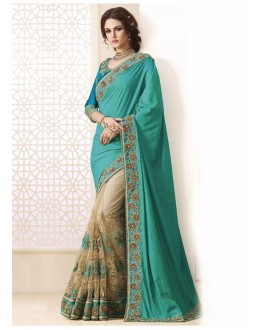 Bollywood Inspired - Green & Beige Half & Half Saree  - 1558