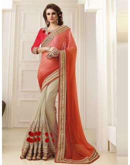 Bollywood Inspired - Orange & Beige Half & Half Saree  - 1559