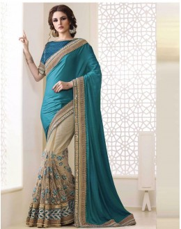 Bollywood Inspired - Ethnic Wear Blue & Beige Saree  - 1560