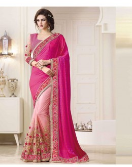 Bollywood Inspired - Wedding Wear Pink Saree  - 1561