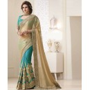 Bollywood Inspired - Festival Wear Beige & Green Saree  - 1562