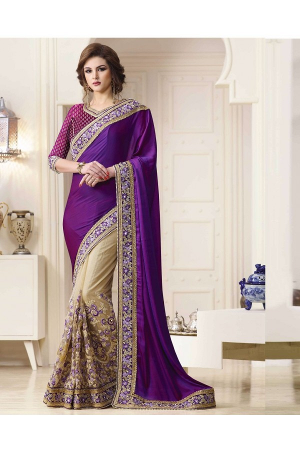 Bollywood Inspired - Georgette Purple & Beige Saree  - 1564
