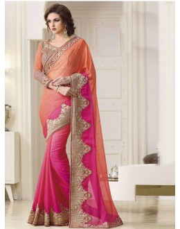 Bollywood Inspired - Wedding Wear Orange & Pink Saree  - 1565