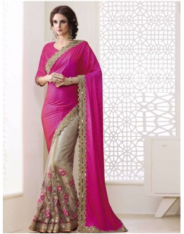 Bollywood Inspired - Georgette Pink & Beige Saree  - 1568