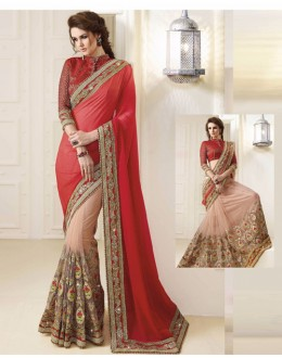 Bollywood Inspired - Georgette Red & Beige Saree  - 1569