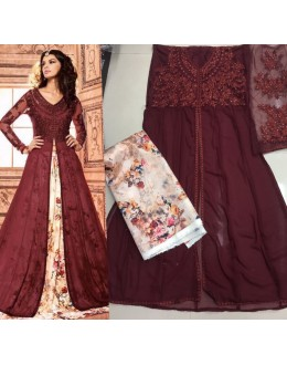 Party Wear Maroon Georgette Lehenga Suit  - 3701-A