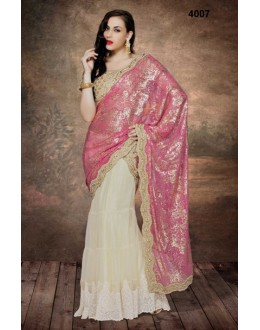 Ethnic Wear Pink & Off White Net Saree  - 4007