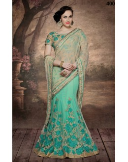Party Wear Beige & Green Net Saree  - 4008
