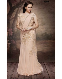 Festival Wear Light Peach Net Embroidered Saree  - 4009