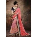 Ethnic Wear Pink & Blue Net Embroidered Saree  - 4017
