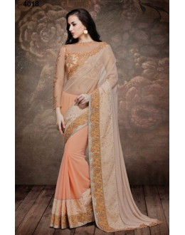 Festival Wear Light Peach Net Embroidered Saree  - 4018