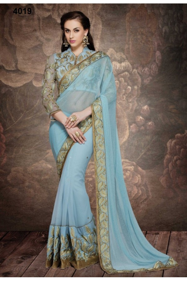 Party Wear Soft Blue Net Embroidered Saree  - 4019