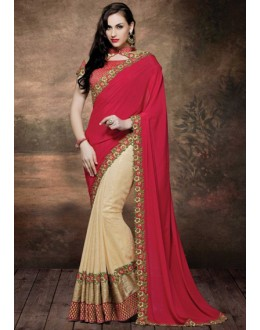 Designer Red & Beige Fancy Silk Saree  - 4022
