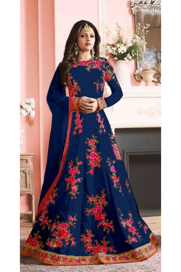 Party Wear Blue Banglori Silk Anarkali Suit  - 7002-D