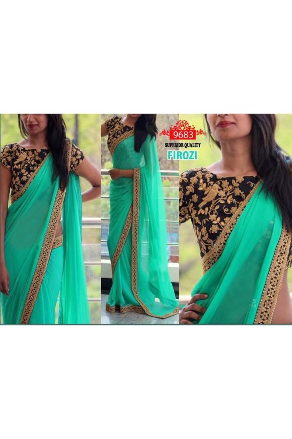 Bollywood Replica - Party Wear Light Green Saree - 9683-A