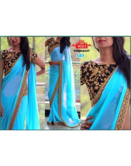 Bollywood Replica - Party Wear Sky Blue Saree - 9683-B