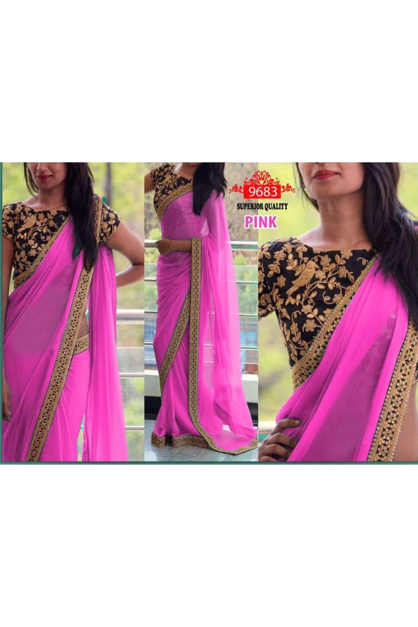 Bollywood Replica - Party Wear Pink Saree - 9683-F