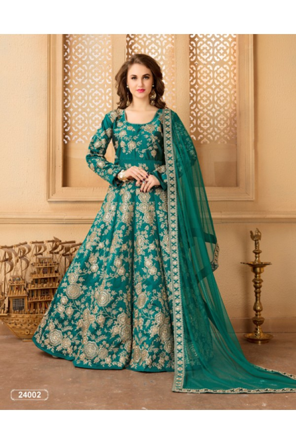 Wedding Wear Rama Green Taffeta Silk Anarkali Suit - 24002