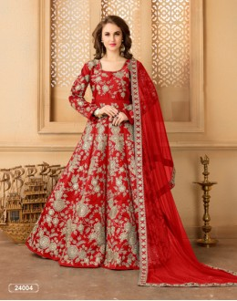 Bridal Wear Red Taffeta Silk Anarkali Suit - 24004