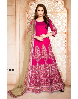 Party Wear Pink Banglori Silk Anarkali Suit  - 12006