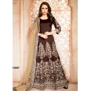 Bridal Wear Brown Banglori Silk Anarkali Suit  - 12007