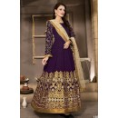 Festival Wear Purple & Beige Banglori Silk Anarkali Suit  - 13002