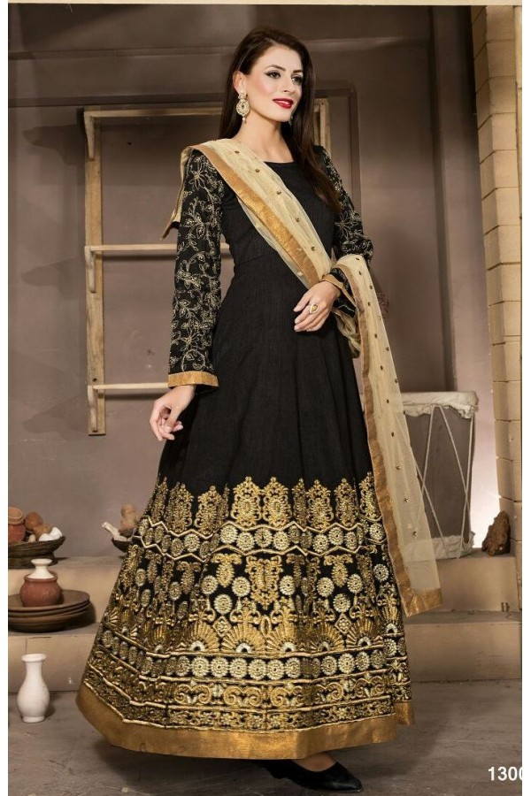 Ethnic Wear Black & Beige Banglori Silk Anarkali Suit  - 13001