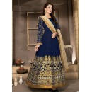 Ethnic Wear Blue & Beige Banglori Silk Anarkali Suit  - 13003