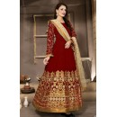 Designer Red & Beige Banglori Silk Anarkali Suit  - 13004