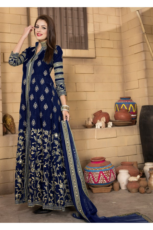 Designer Dark Blue Banglori Silk Anarkali Suit  - 14003