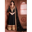 Party Wear Black Banglori Silk Anarkali Suit  - 15001