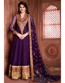 Designer Purple Banglori Silk Embroidered Anarkali Suit  - 15002
