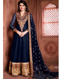 Festival Wear Blue Banglori Silk Anarkali Suit  - 15003