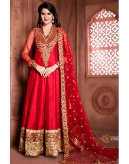 Wedding Wear Red Banglori Silk Anarkali Suit  - 15004