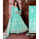 Party Wear Sky Blue Banglori Silk Anarkali Suit  - 18004