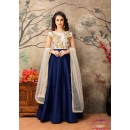 Party Wear Off White & Blue Taffeta Silk Anarkali Suit - 25003